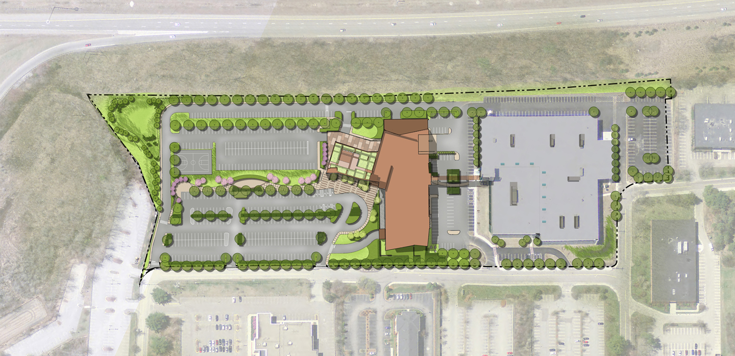SMMA's site plan for the new Keurig Dr Pepper Headquarters.